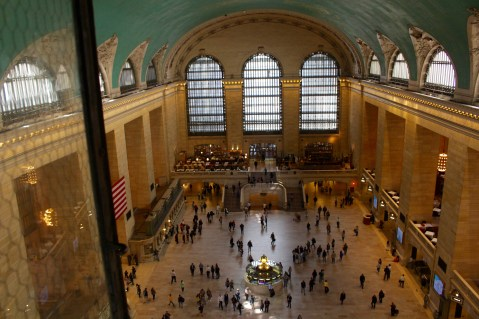 A rare view of Grand Central Terminal, looking down from the very top of the center arched window. ©2015 Lucy Mathews Heegaard