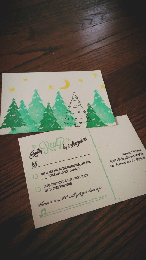 finished happy tree postcard