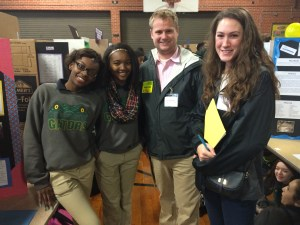 Rachel and I at the Glasgow  Middle School science fair with a few of the presenters.