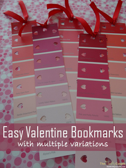 Easy Valentine Bookmarks From Paint Sample Strips And