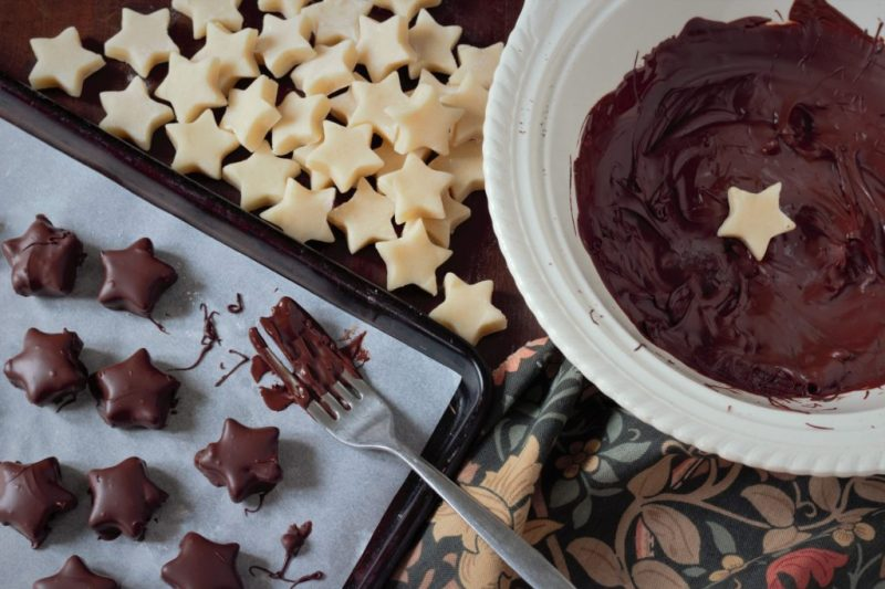 chocolate marzipan stars