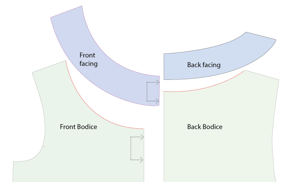 back and front facing pieces