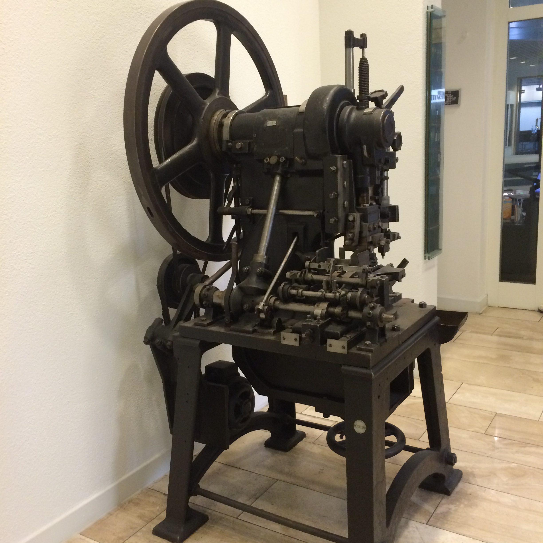 early pressing machine at prym HQ