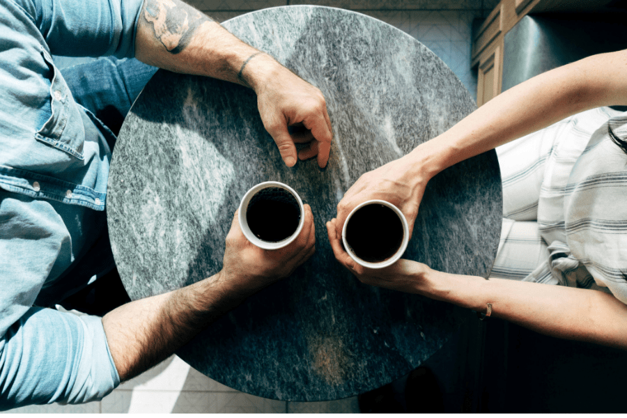 Picture of a man and a woman having coffee