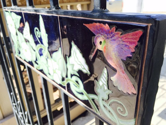 Our artist designed this gorgeous humming bird mural to be installed into a wrought iron gate!