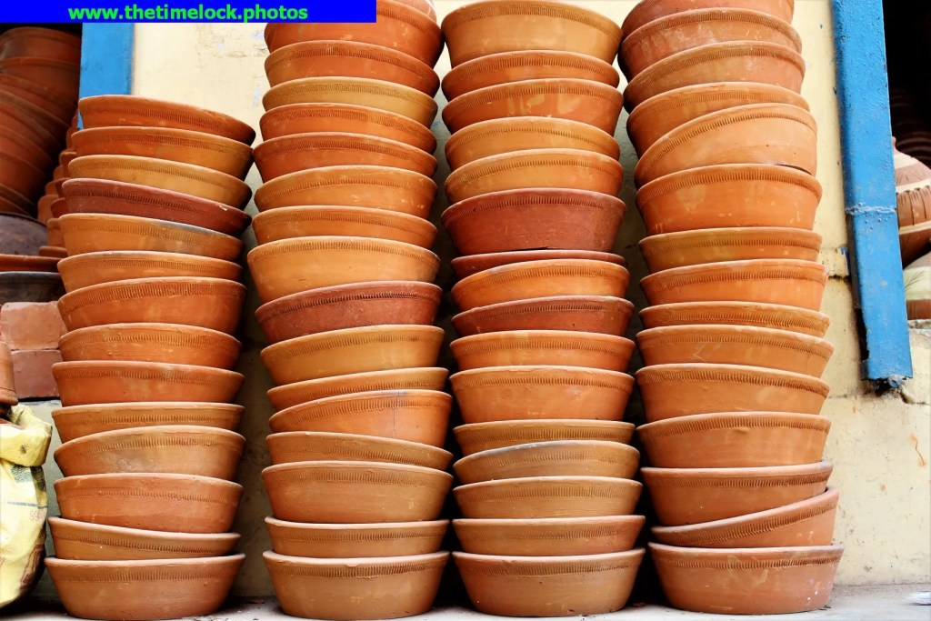 clay pans arranged