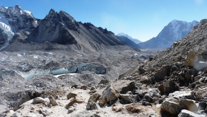 The rock-covered Khumbu glacier