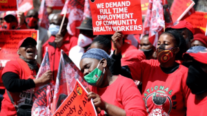 South Africa healthcare workers protest, threaten strike