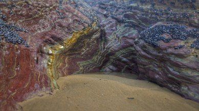 magnificent coloured rocks at Slipper Point