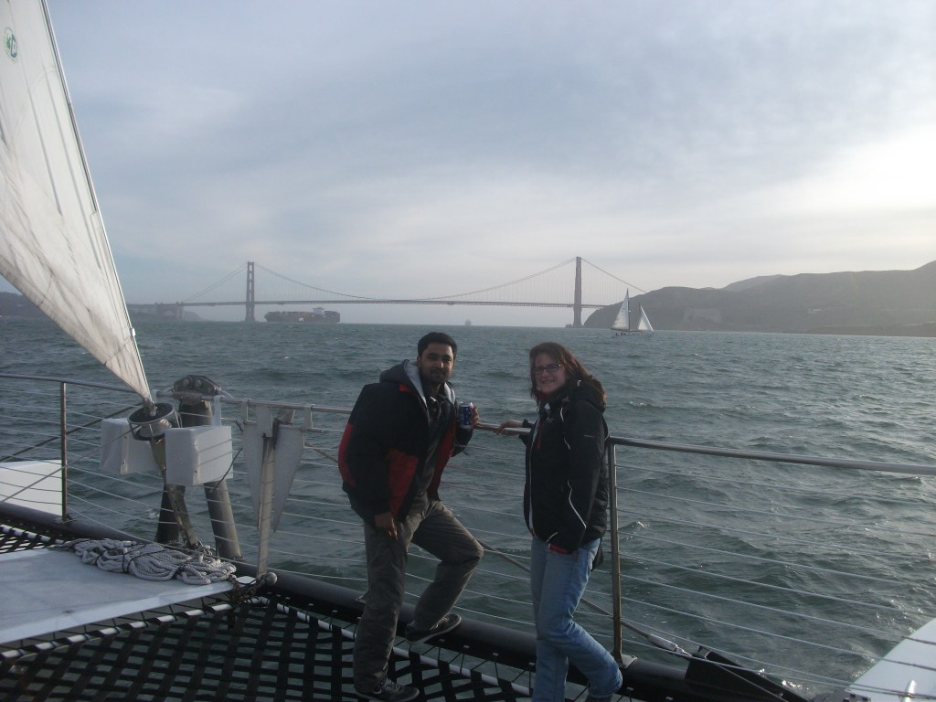 A cold and breezy shot with the Golden Gate Bridge from our sail boat