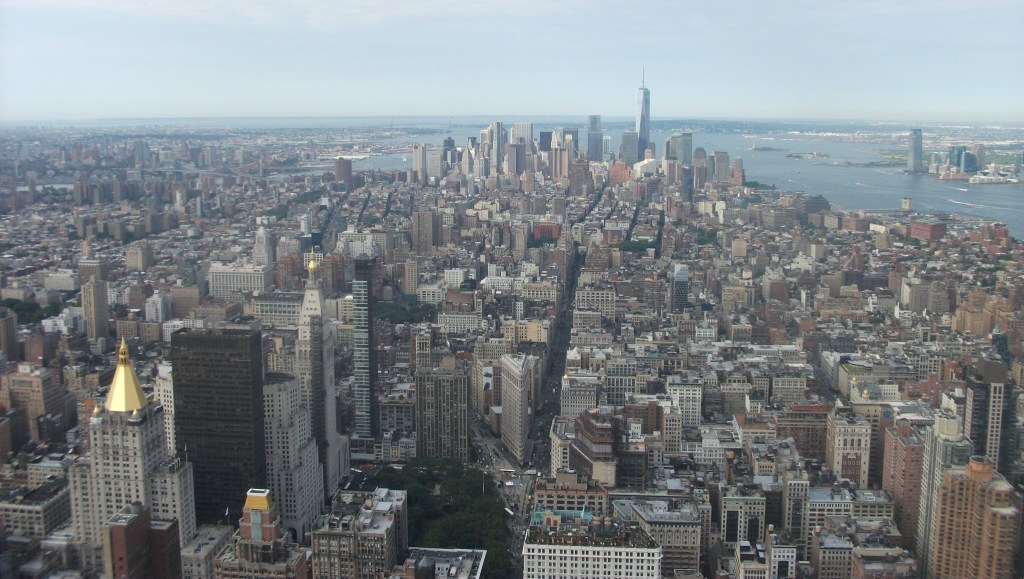 "The views over Manhattan toward ""Freedom Tower"" from the Empire State Building"