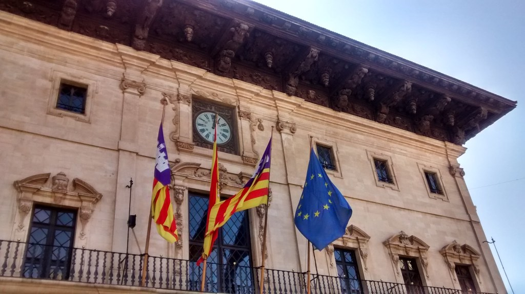 Flags flying in Palma de Mallorca