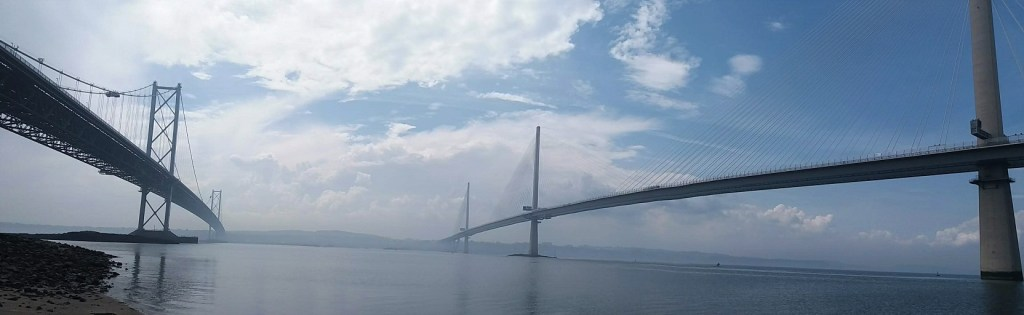 Forth Road Bridge and Queensferry Crossing from Ferrycraigs at Shore You Care