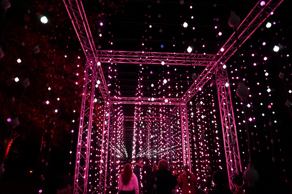 Curtain of dangling lights at itison GlasGLOW event