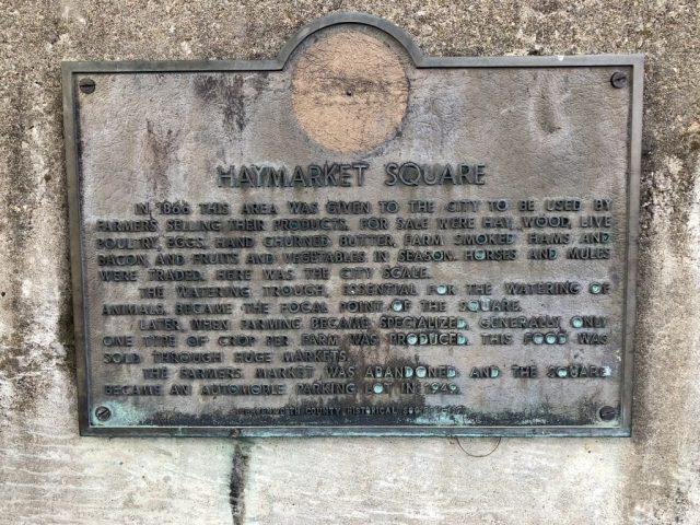 Historical marker for the Haymarket Square Leavenworth Kansas