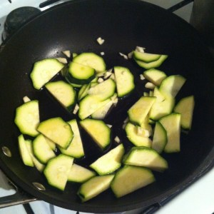 Fry Garlic, add thin slices of courgettes
