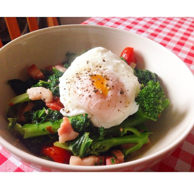Kale & Broccoli, pancetta w/ poached egg