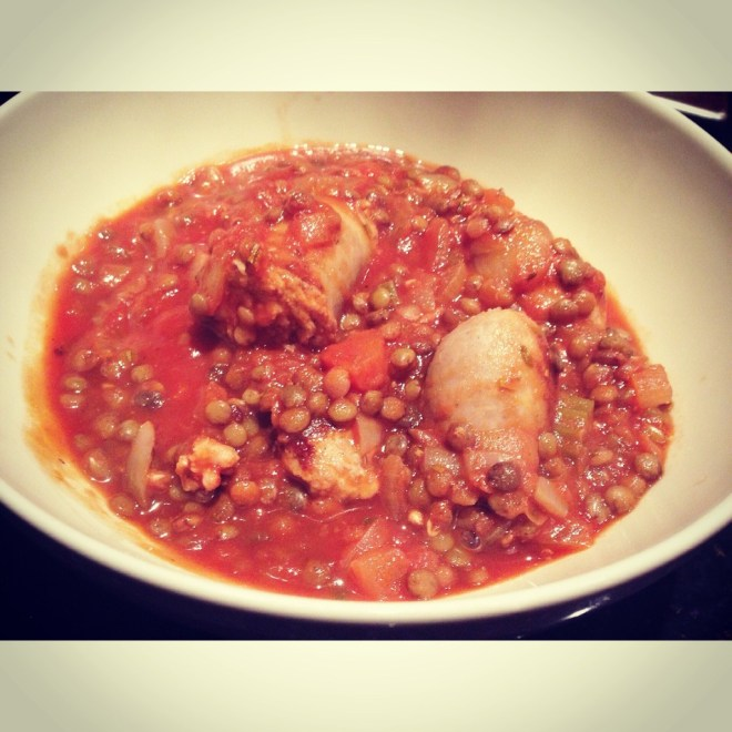 Sausage & Tomato Lentil stew