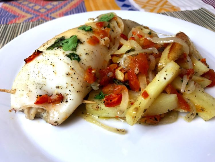Stuffed Squid with roasted potatoes & tomatoes