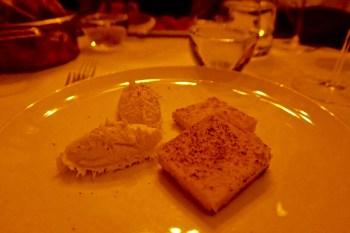 Creamed salted cod served with grilled polenta