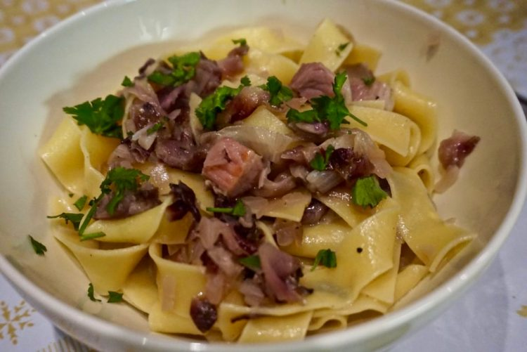 Venetian Pasta with Radicchio,Speck and Asiago cheese