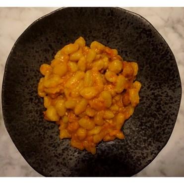 Gnocchi with borlotti beans and tomato sauce