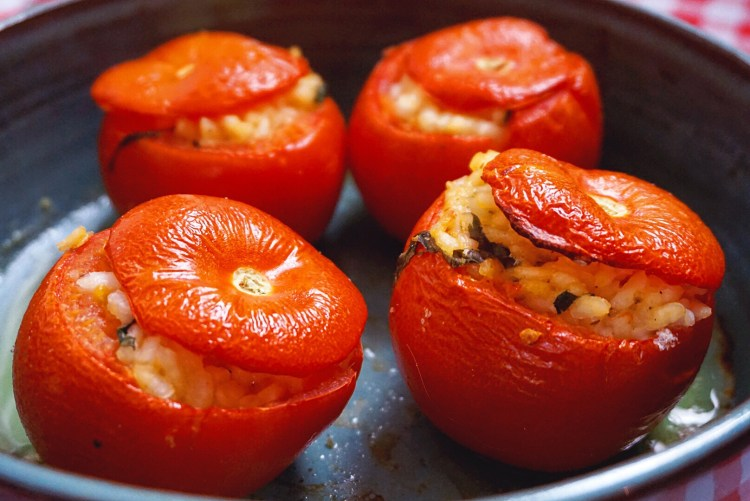 Baked Tomatoes Stuffed With Risotto