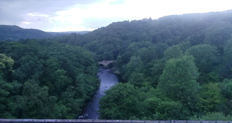 A view from Pontcysyllte Aqueduct to the forests and river 100 ft below!