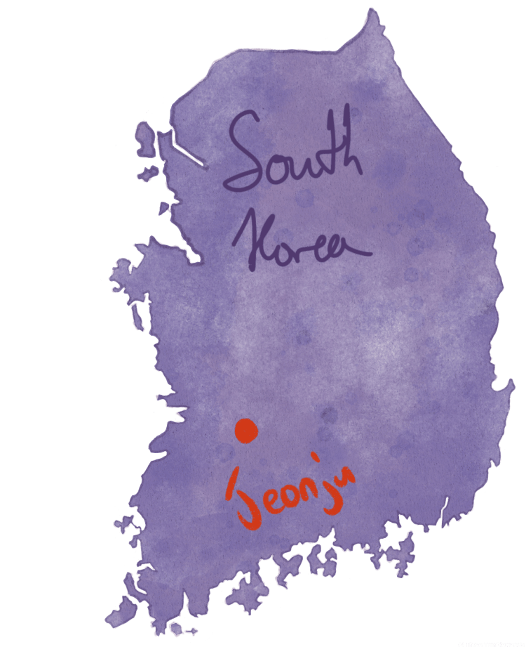 Jeonju travel guide hand drawn map of Korea in purple. Jeonju is marked with a red dot.