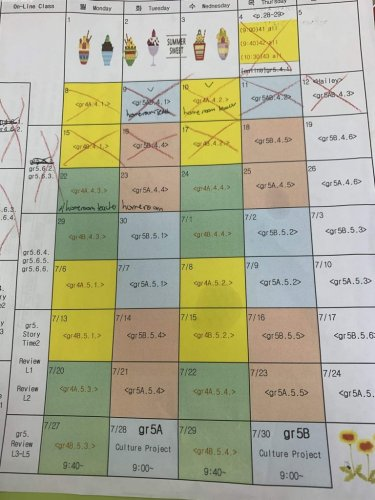 The schedule of classes for the next two months. Different grades and teams are highlighted in different colors and the videos to record run alone the left side.