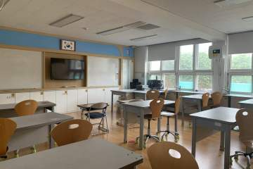 Day teaching in Korea. An empty classroom with many double-seater desks, two white boards, and a large flat screen tv in the center of the wall. On the right there is a wall of windows and counters.