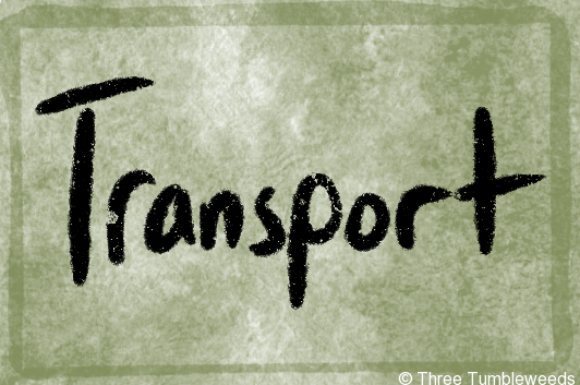 a green watercolor background with a watery darker border. Transport is written in black handwriting in the center