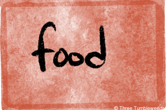a red watercolor background with a watery darker border. Food is written in black handwriting in the center