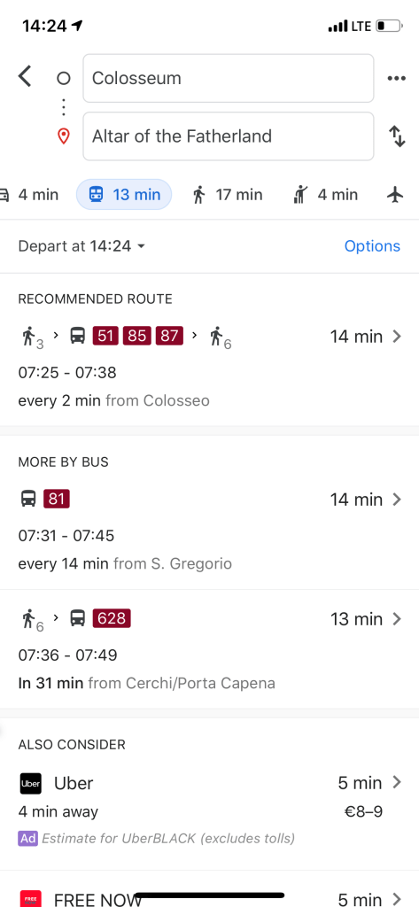 A picture of the Google Maps bus schedule with the bus numbers available outlined in red and walking times indicated by a tiny picture of a person.
