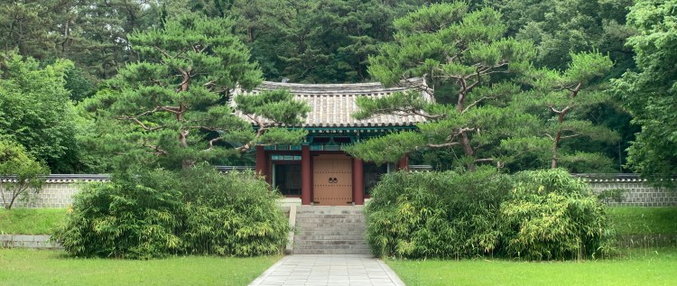 A large gate to a shrine shrouded by trees