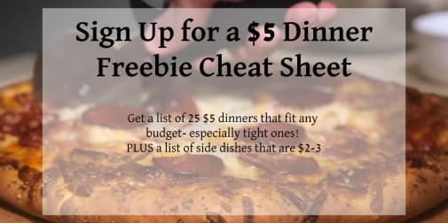 $5 dinner cheat sheet freebie
