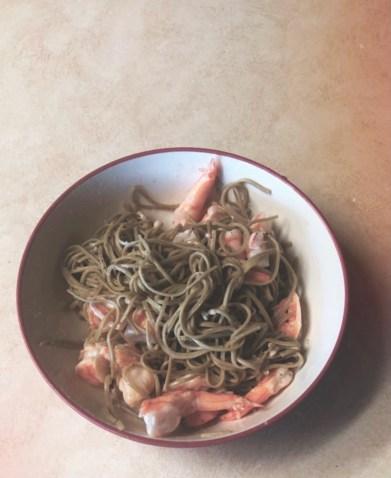 edamame pasta and shrimp