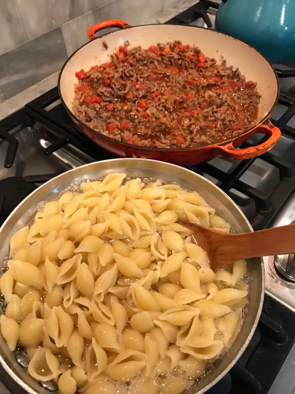 taco meat and pasta shells