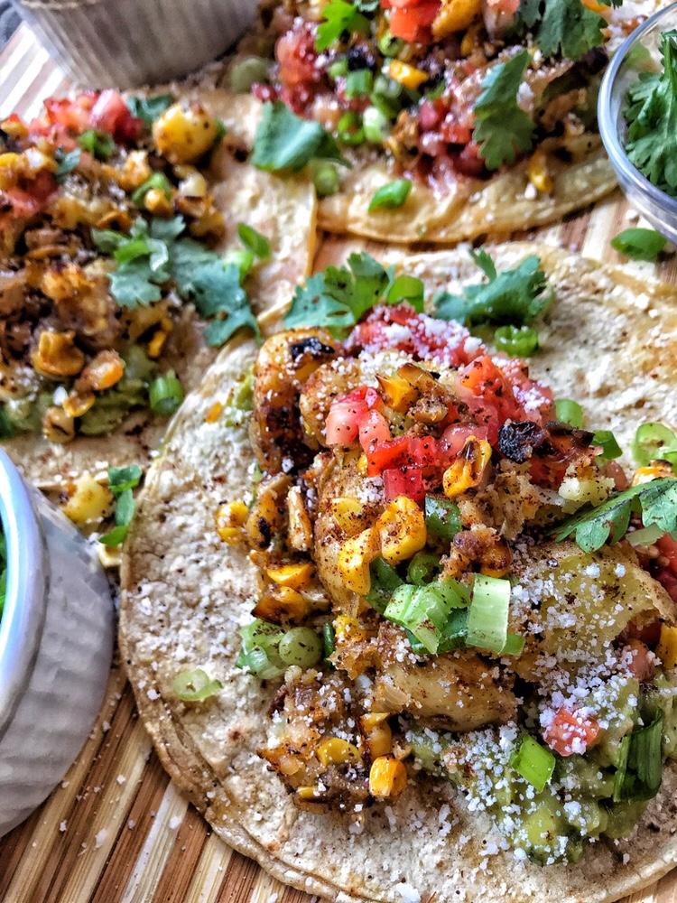 tacos, potaotes, corn, salsa, guacamole