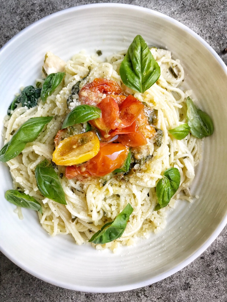 Angel Hair Pasta, Chicken, Veggies and Herbs