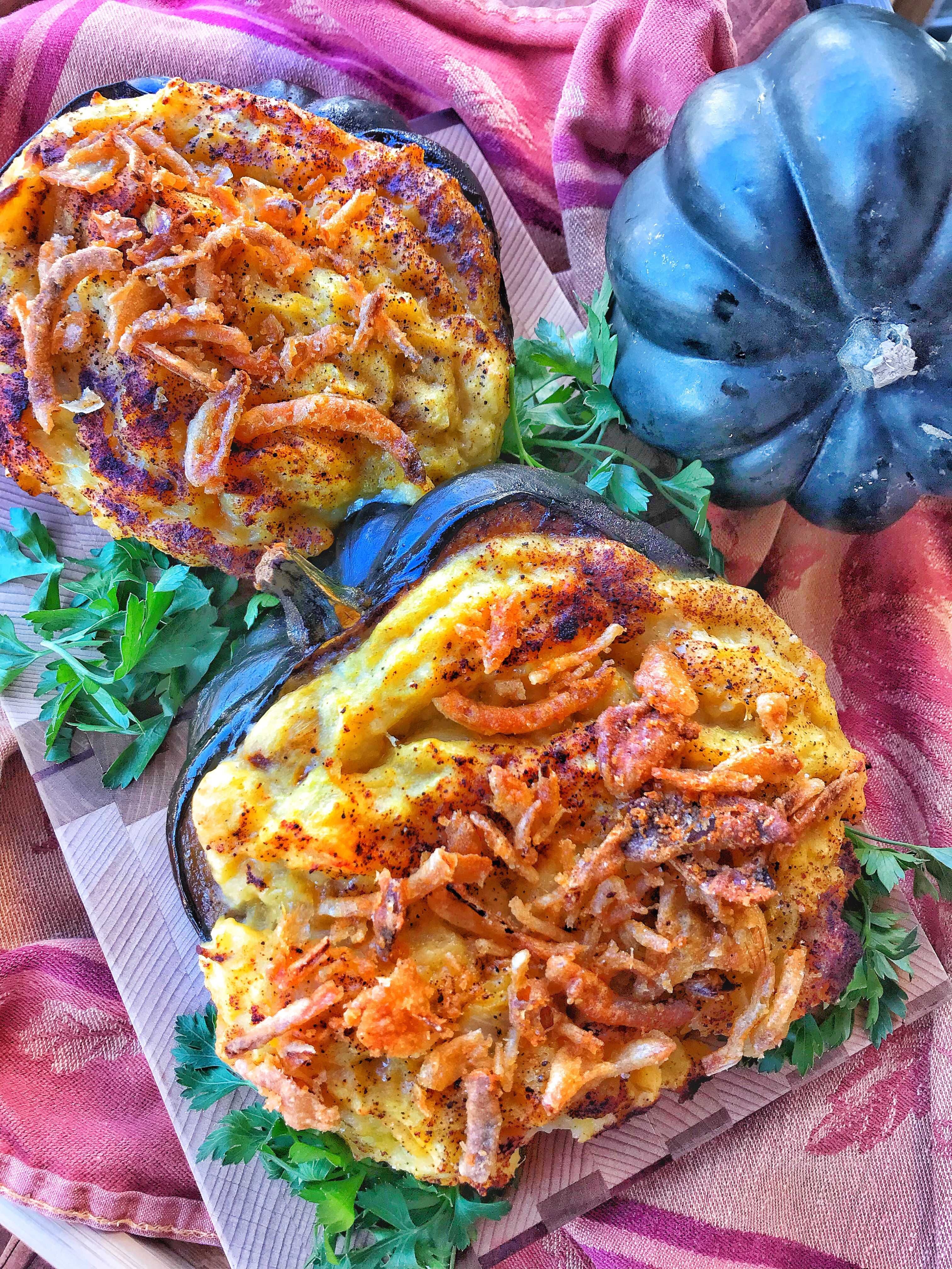 Cheesy Mashed Potato Stuffed Acorn Squash