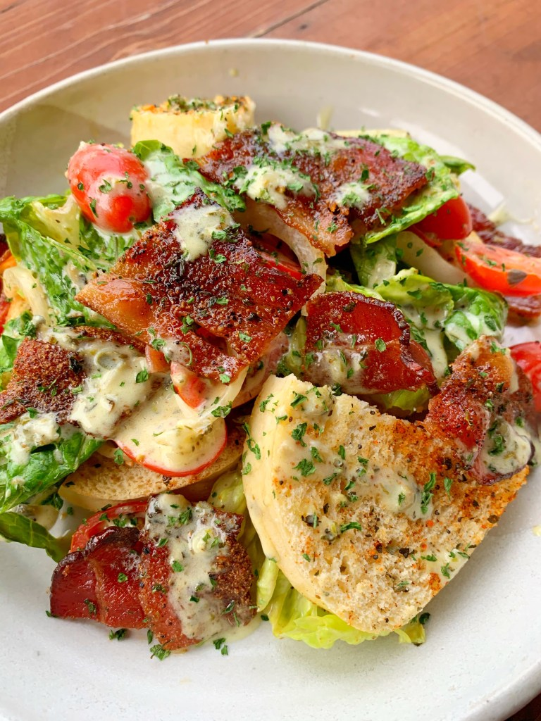Bacon, Lettuce and Tomato Salad with toasted Bread Dumplings