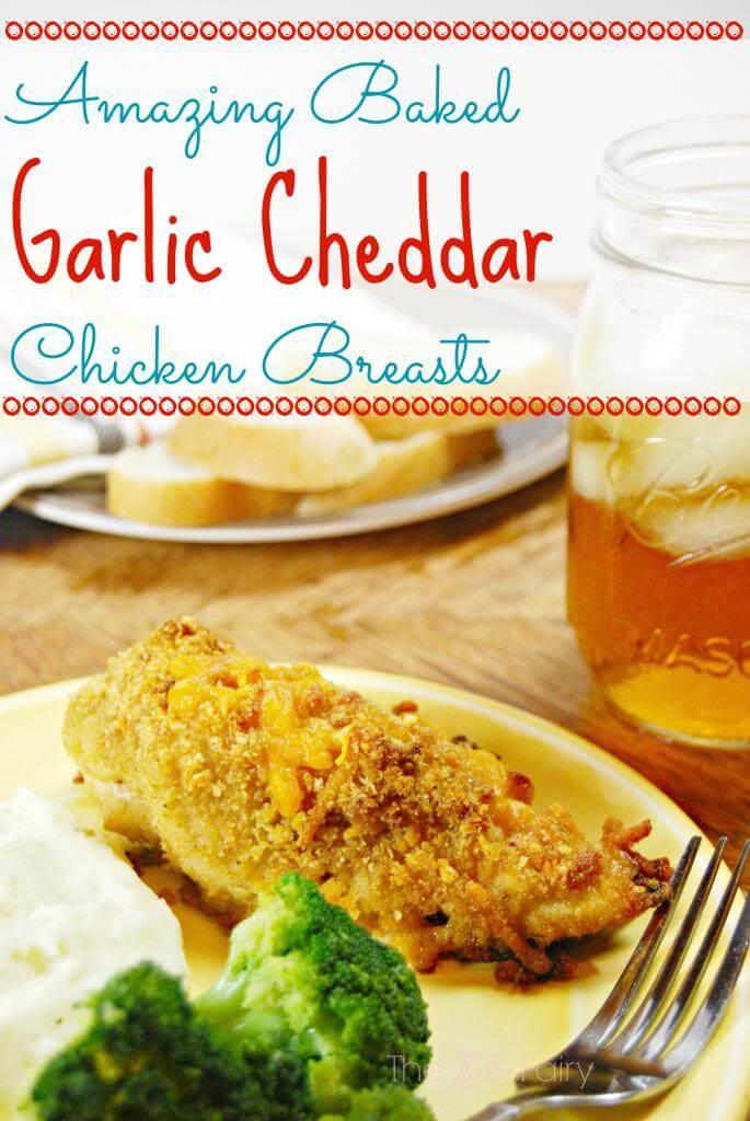 Amazing Baked Garlic Cheddar Chicken Breasts | The TipToe Fairy #garlic #chickenrecipes #bakedchicken