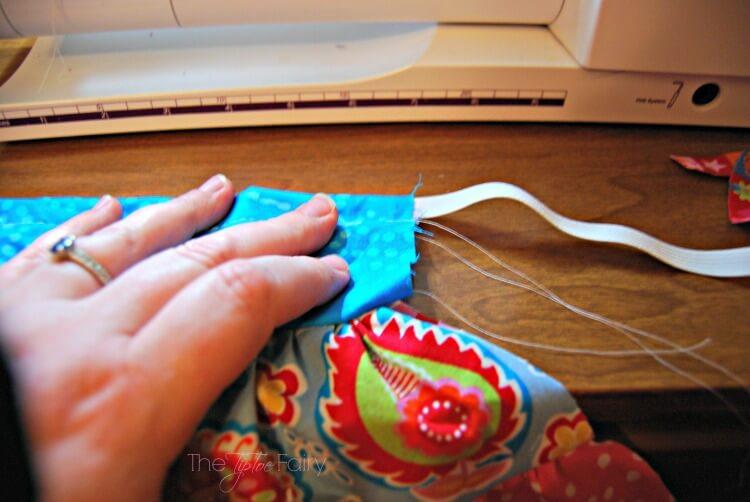 Insert elastic for the doll twirly skirt