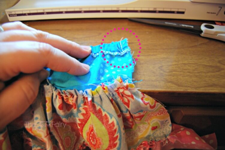 Backstitch the waistband of the doll twirly skirt