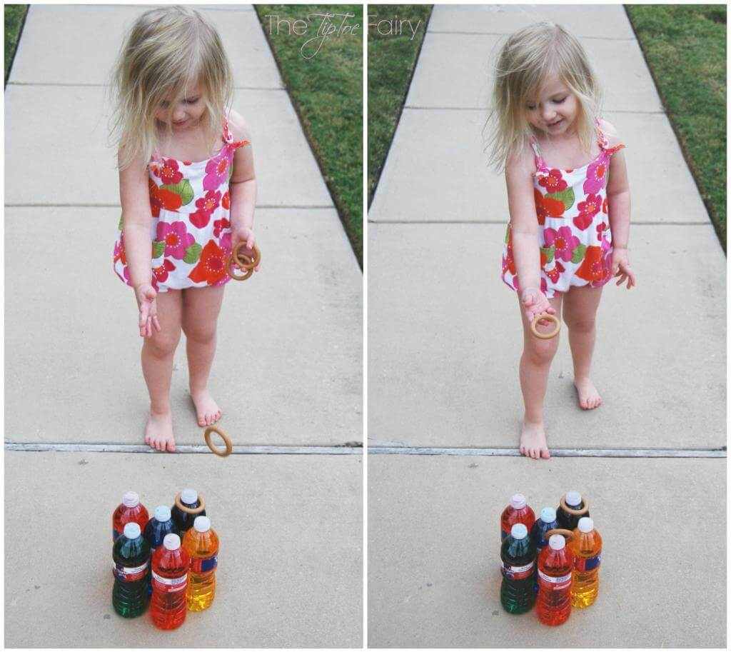 Turn Water Bottles into a game of ring toss when you drink all the water bottles.