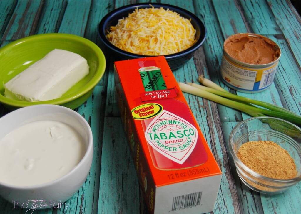 ingredients to make cheesy hot bean dip
