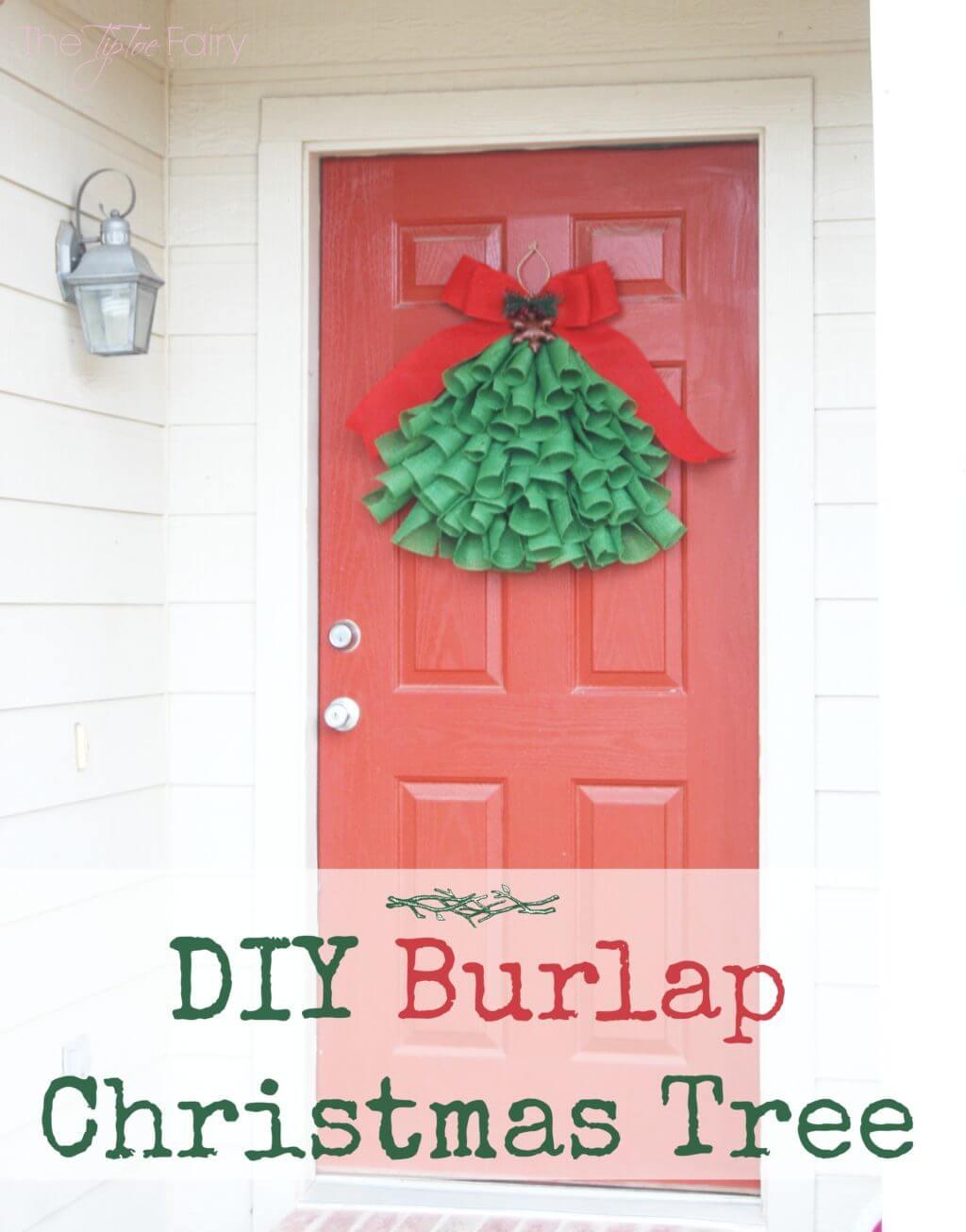 DIY Burlap Christmas Tree Door Hanging