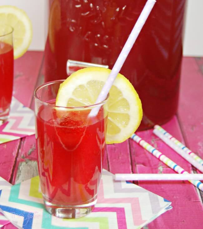 A finished glass of lemon berry party punch.