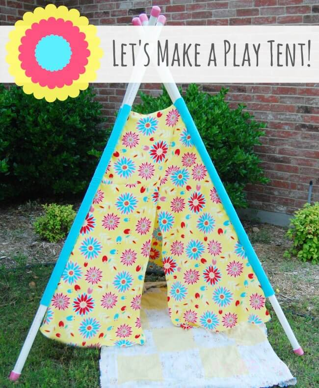 Have Fun in the Sun and make your own Play Tent for your kids - easy tutorial with no pattern! | The TipToe Fairy #ad #WhereFunBegins